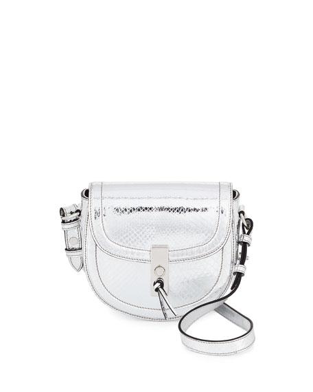 Altuzarra Ghianda Mini Metallic Python Saddle Bag, Silver