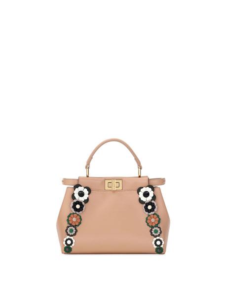 Fendi Flowerland Peek-A-Boo Mini Leather Satchel Bag