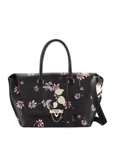 Demilune Medium Floral Satchel Bag