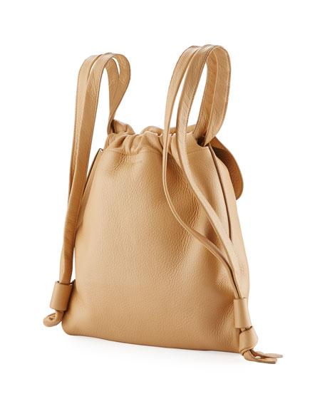 Knapsack Tumbled Leather Flap-Top Bag