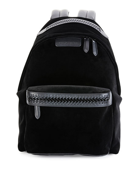 Stella McCartney Falabella Go Medium Velvet Backpack, Black