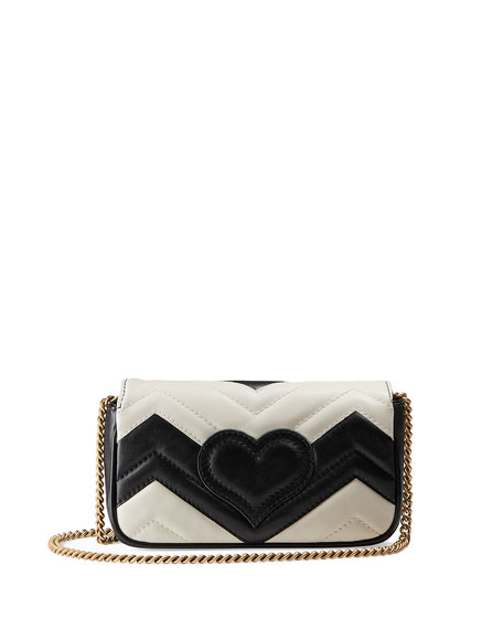 Supermini Quilted Leather Chain Shoulder Bag, Black/White