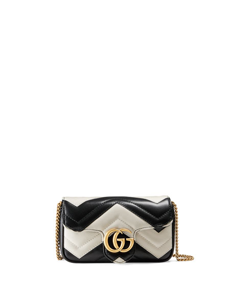 78a2375aa Gucci Supermini Quilted Leather Chain Shoulder Bag, Black/White