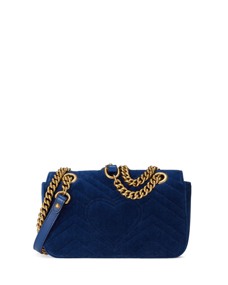 Marmont 2.0 Embellished Suede Shoulder Bag, Cobalt