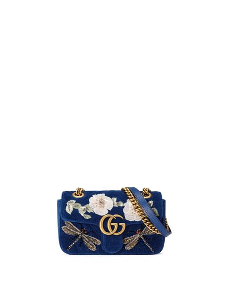 Marmont 2.0 Embellished Suede Shoulder Bag, Cobalt