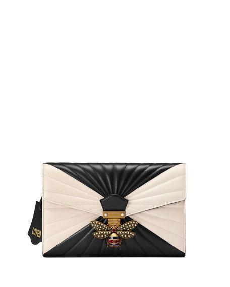1e176057eab5 Gucci Small Linea Bee Clutch Bag, Black