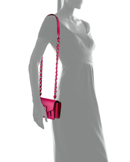 Hava Chain Leather Crossbody Bag, Pink