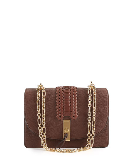 Ghianda Braided Leather Chain Shoulder Bag, Brown