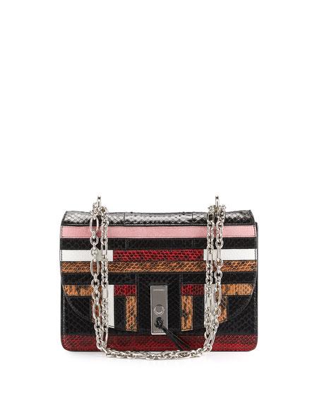 Patchwork Snakeskin Chain Shoulder Bag, Multi