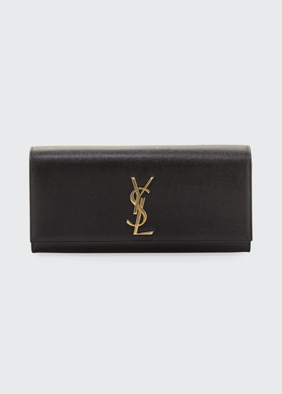 Monogram YSL Grained Calfskin Clutch Bag  Black