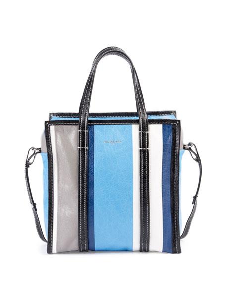 Bazar Small Striped Leather Shopper Tote Bag, Blue/Multi