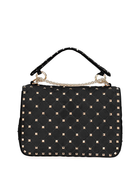 Rockstud Spike Medium Quilted Suede Satchel Bag, Black