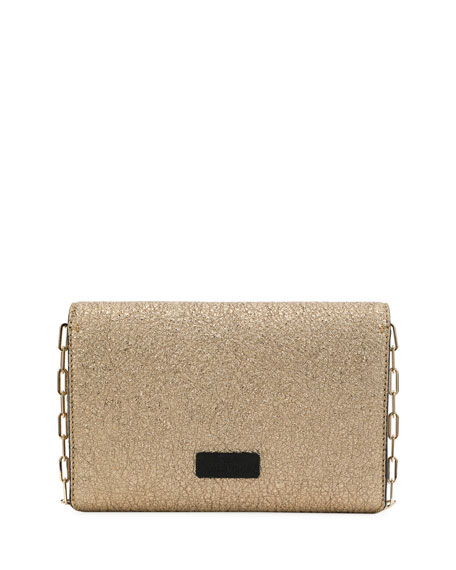 V Rivet Metallic Leather Chain Clutch Bag, Gray