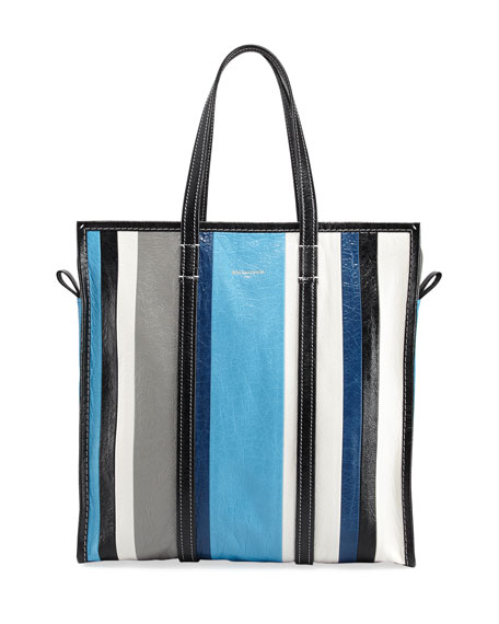 Bazar Medium Striped Leather Shopper Tote Bag