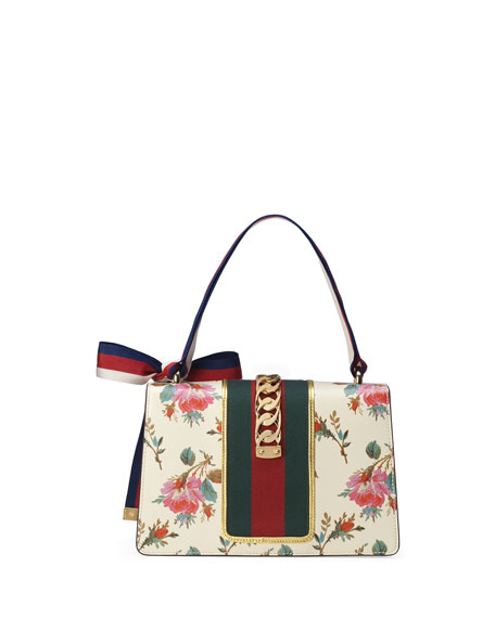 a17550d9f Gucci Sylvie Small Rose Floral Leather Shoulder Bag