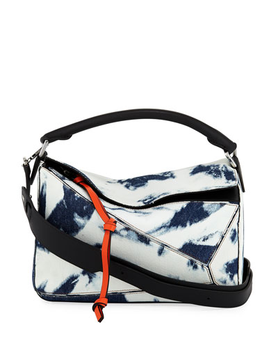 Puzzle Tie-Dye Denim Satchel Bag