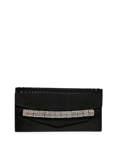 Crystal-Strap Python Clutch Bag