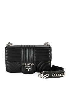 f48d93354dc575 Prada Small Diagramme Shoulder Bag with Chain Strap
