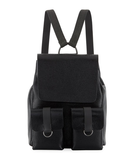 Shiny Leather Flap Backpack
