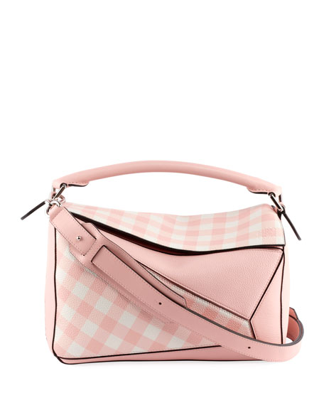 Puzzle Gingham Leather Satchel Bag