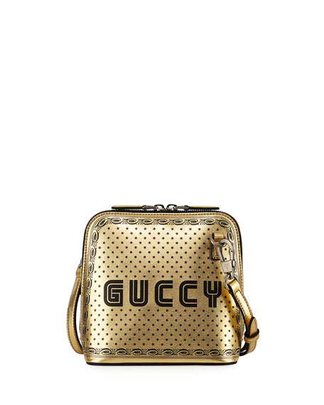 Guccy Logo Moon & Stars Leather Crossbody Bag - Metallic, Gold