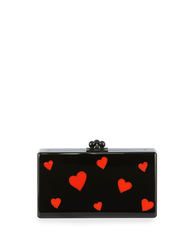 Jean Hearts Acrylic Box Clutch Bag