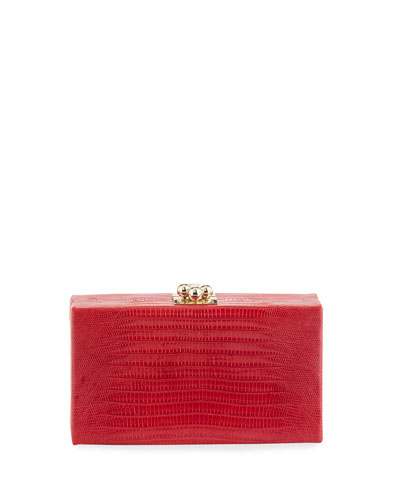 Jean Shiny Lizard Box Clutch Bag