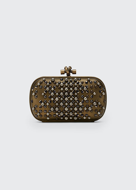 Pearl Chain Knot Clutch Bag