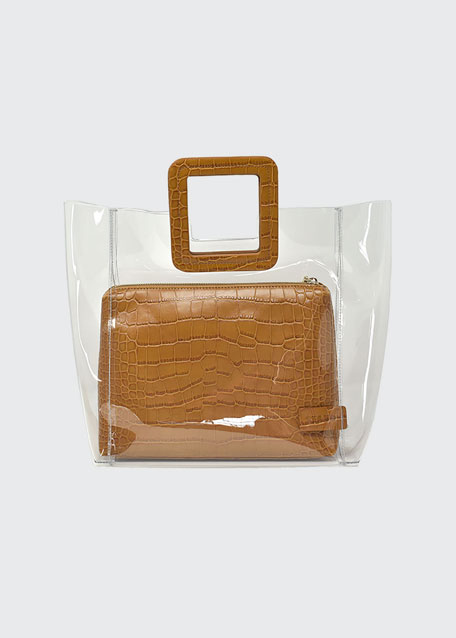 Shirley Clear PVC and Crocodile-Embossed Tote Bag