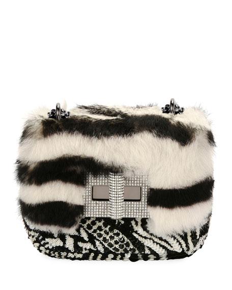 Natalia Small Soft Tiger-Print Fur Shoulder Bag in Black+White