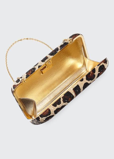 Seamless Leopard Crystal Clutch Bag