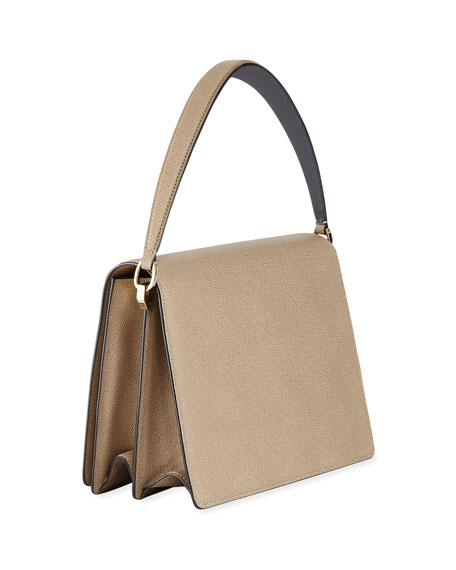 Twist Grained Leather Shoulder Bag