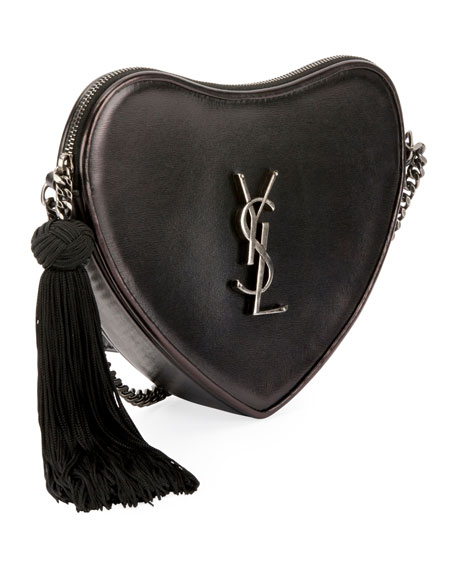 Saint Laurent Sac Coeur Monogram YSL Heart Tassel Box Clutch Bag 5573b10782d6c