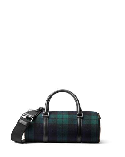 Tartan Eva Plaid Leopard-Print Barrel Bag