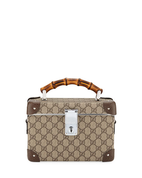 Gucci GG Canvas Beauty Train Case Bag with Bamboo Handle 32b1a1f54a0