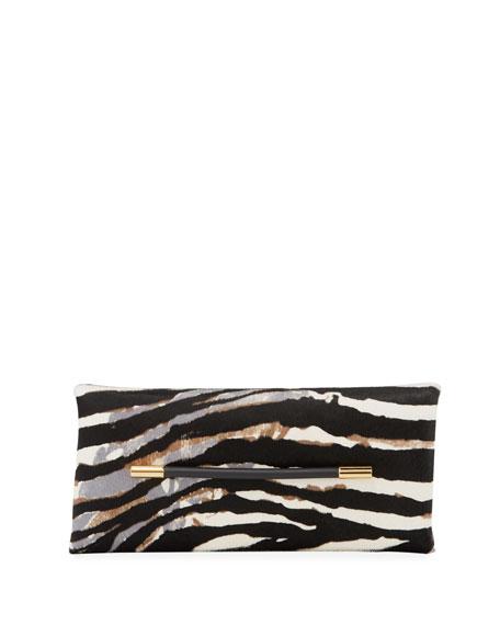 Ava Zebra-Print Calf Hair Clutch Bag