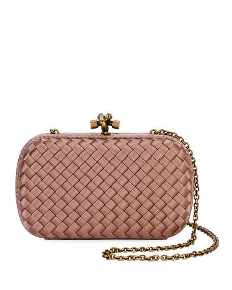 15a6bec68031 Bottega Veneta Woven Satin Chain Knot Clutch Bag
