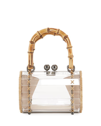 Alix Acrylic Bamboo-Top Handle Bag