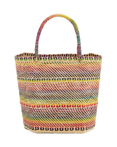 Rainbow Woven Straw Tote Bag
