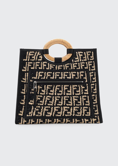 Runaway Large FF Raffia Shopping Tote Bag