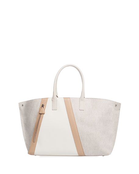 Ai Medium Bratescu Line Canvas & Leather Top-Handle Tote Bag