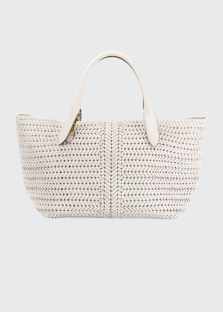 The Neeson Large Woven Leather Tote Bag