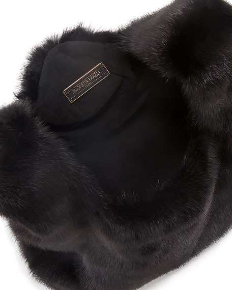 Furrissima Mink Fur Shopper Tote Bag, Black