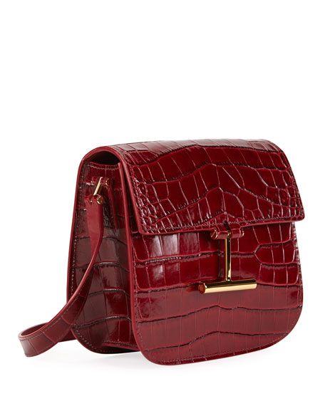 Tara Small T Clasp Alligator Shoulder Bag