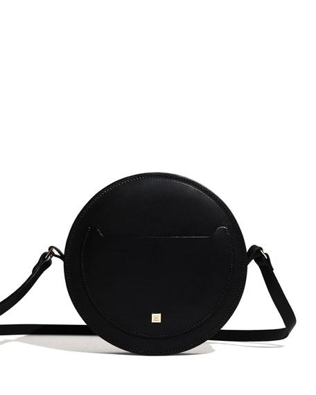 Hope Leather Circle Shoulder Bag, Black