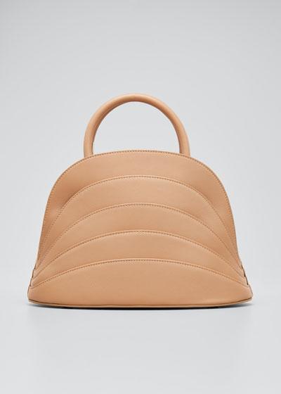 Millefoglie J Layered Top Handle Bag  Brown