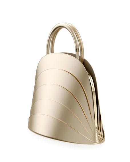Millefoglie J Layered Top Handle Bag, Gold