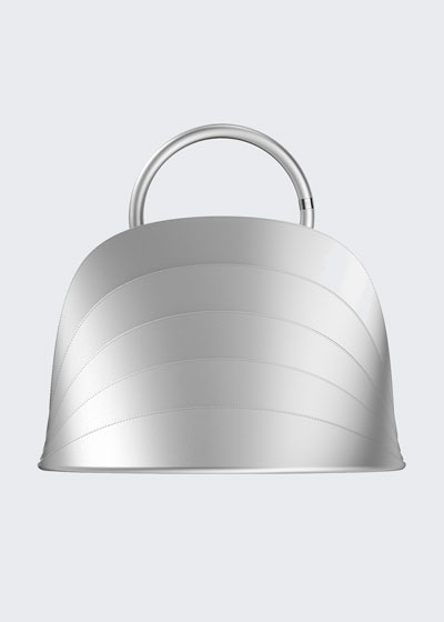 Millefoglie J Layered Top Handle Bag  Silver