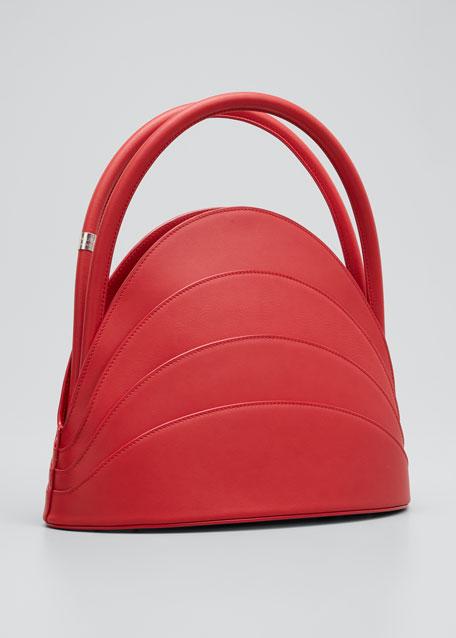 Millefoglie Layered Top-Handle Bag, Red