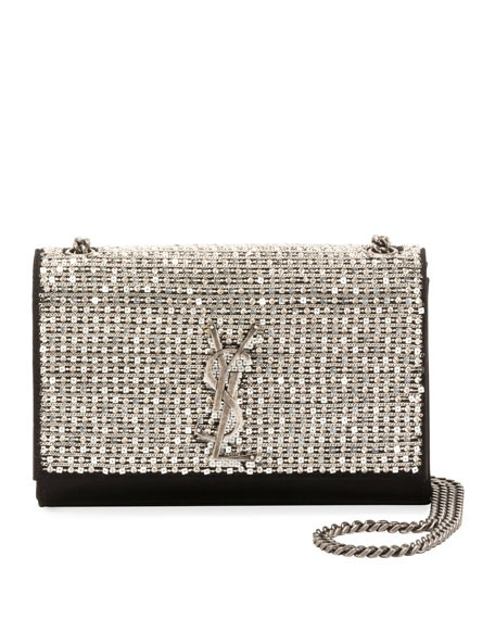 9f05c46c Kate Monogram Ysl Small Crystal Satin Chain Crossbody Bag in Aged Silver/  Nero